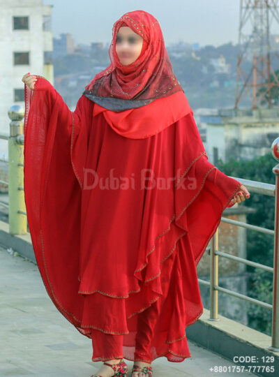 Latest Design Dubai Triple Part Kaftan Borka Maroon