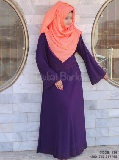 own Style Purple Color Borka with Rain stone Design