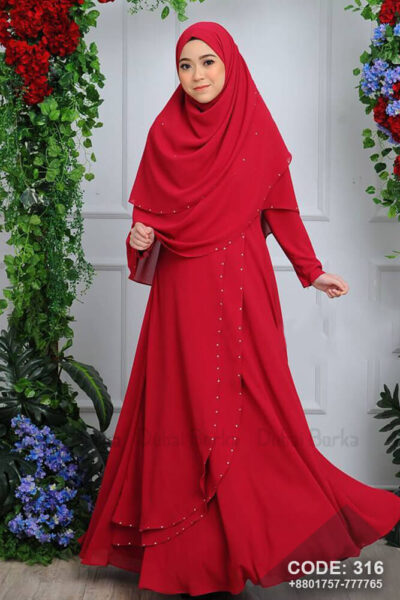 Malay Design Red Color Gown Style Borka with Hijab