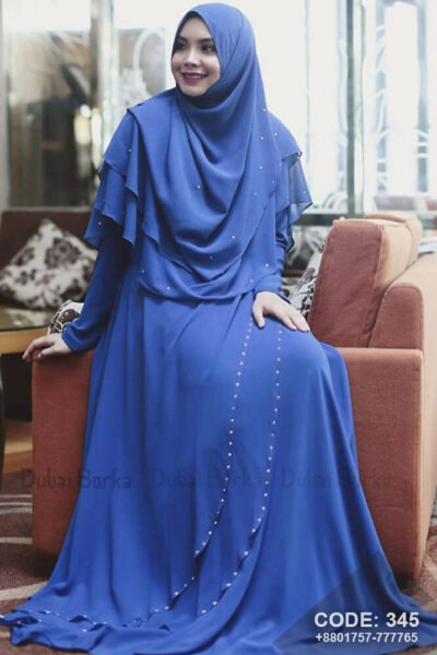 Royal Blue Color Gown Style Borka with Hijab