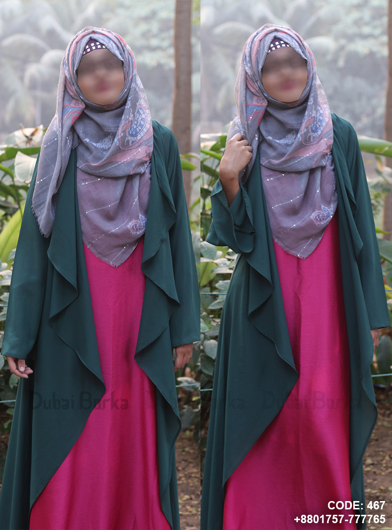 Georgette Simple Design Cape Sea Green Color