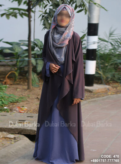 Georgette Cape Smoke Gray Color Simple Design