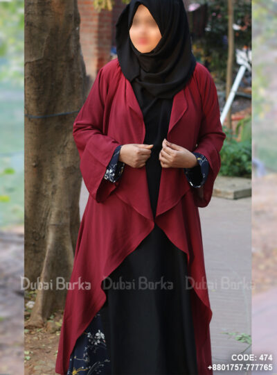 Georgette Cape Wine Maroon Color Simple Design