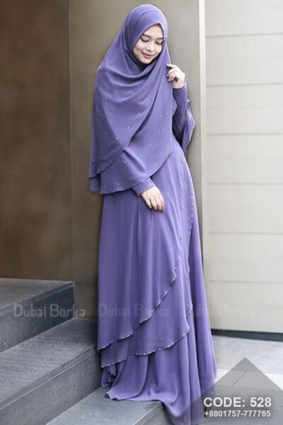 Malay Design Borka Floral Purple with Hijab