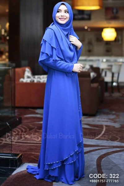 Malay Design Borka Royal Blue with Hijab