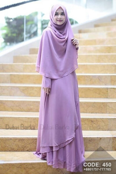Malay Design Borka Thistle Purple with Hijab