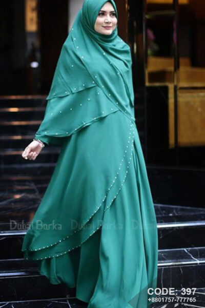 Malay Design Borka Tiffany Blue with Hijab