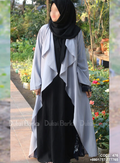 Georgette Cape Ash Blue Color Simple Design