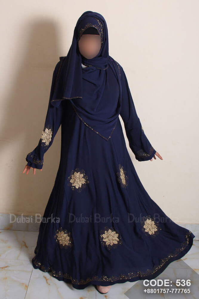 Dubai Flower Lace Work Party Design Borka with Hijab