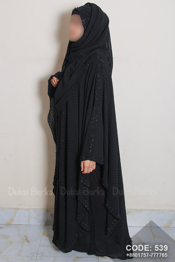 Dubai Double Part Black Soft Fabric Kaftan With Matching Hijab